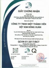 Kết quả thử nghiệm khẩu trang vải kháng khuẩn của Dệt Kim Đông Xuân